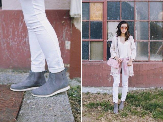 pink chelsea timerland boots light grey blanket cardigan