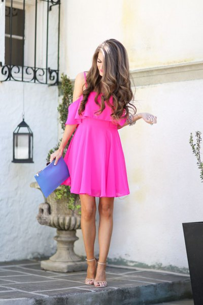 pink cold shoulder fit and flare mini dress