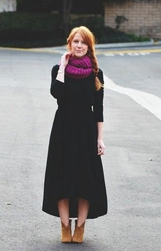 pink crochet infinity scarf black maxi dress