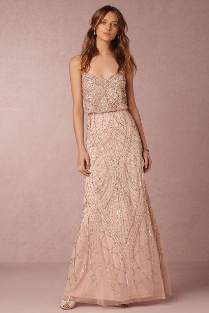 pink gold dress bridesmaid