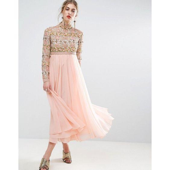 pink gold dress empire neckline