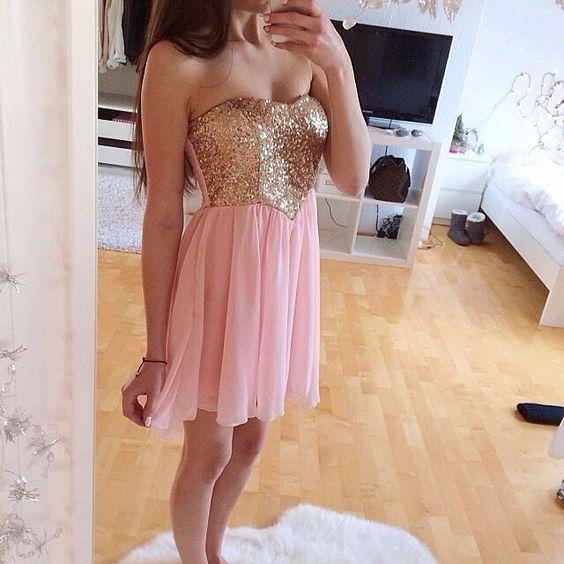 pink gold dress prom