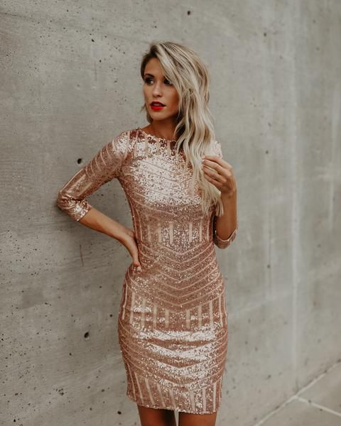 pink gold dress sequined