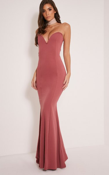 pink strapless deep v neck maxi fishtail dress