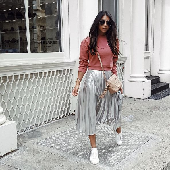 pink sweatshirt silver pleated metallic skirt