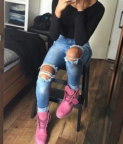 pink timberland boots black form fitting t shirt