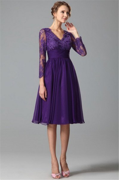 purple chiffon knee length dress lace sleeves