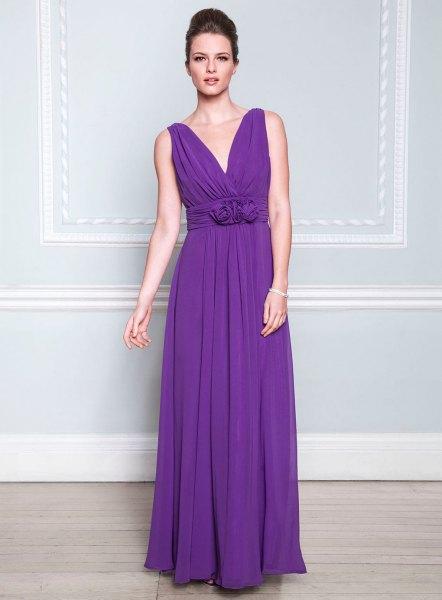 purple deep v neck bridesmaid dress