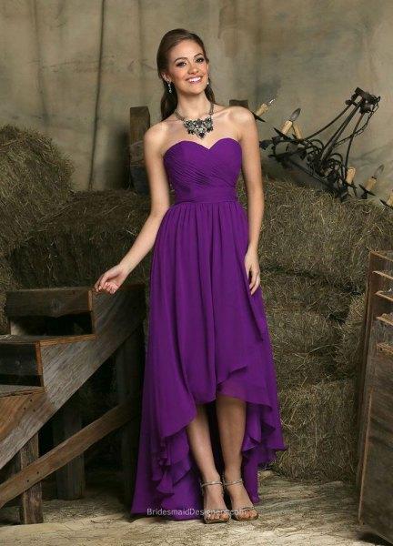 purple strapless high low chiffon dress