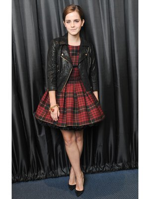 red and black plaid skater dress leather jacket