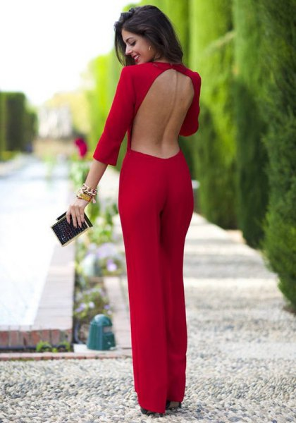 red backless wide leg jumpsuit