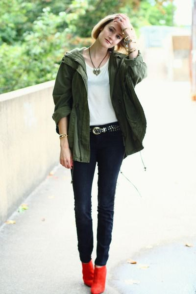 red boots military jacket skinny jeans