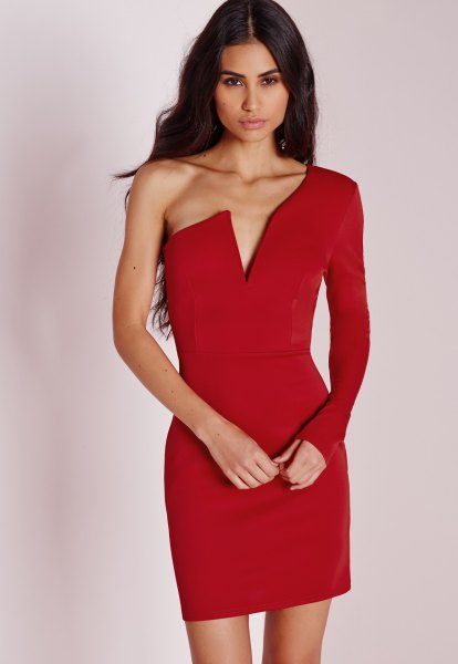 red deep v neck one sleeve bodycon dress