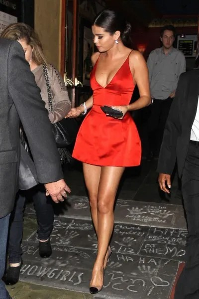 red fit and flare deep v neck mini dress