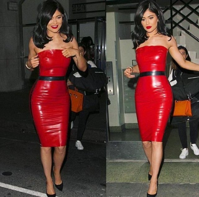 red leather belted tube dress