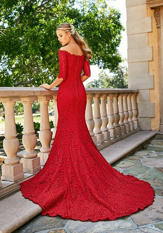 red mermaid dress lace off the shoulders