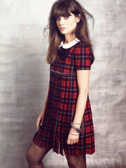 red plaid mini dress white collar blouse