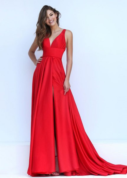 red satin long flowy dress