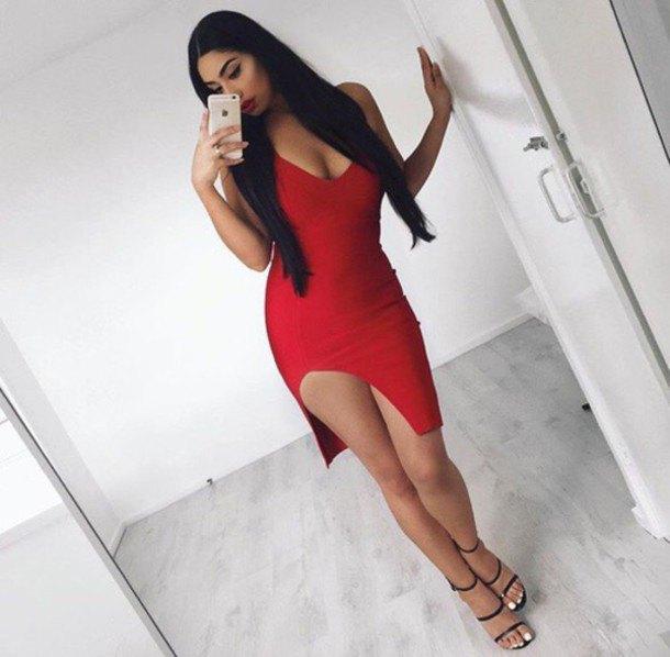 red scoop neck bodycon aymmetric dress
