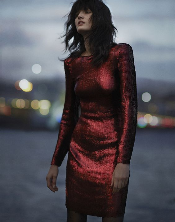 red sequin dress classic long sleeved