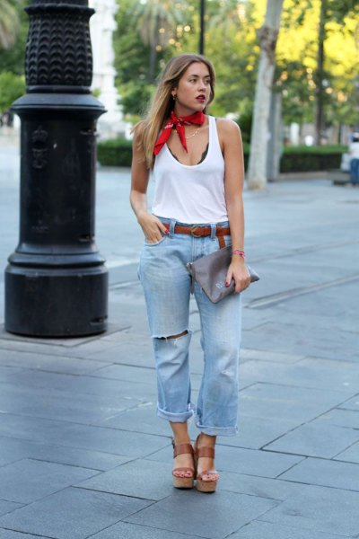 red silk choker scarf white vest top boyfriend jeans
