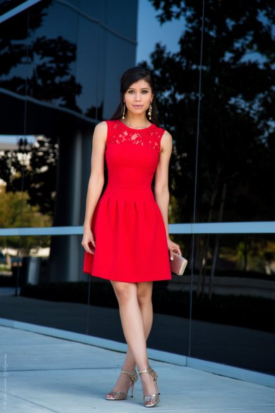 red skater cocktail dress lace collar