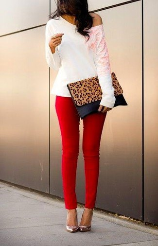 red skinny jeans one shoulder white top