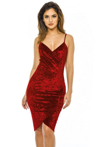 red spaghetti strap deep v neck velvet bodycon dress