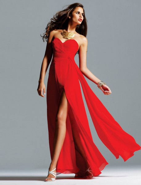 red strapless double slit maxi dress
