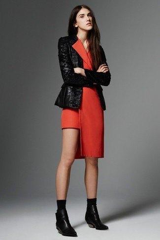 red tuxedo dress black leather jacket