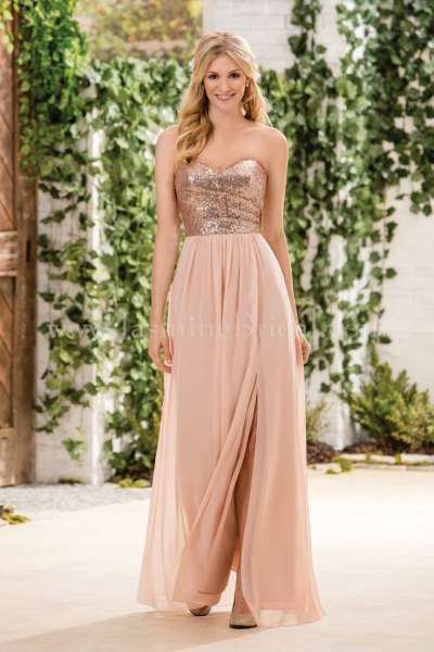 rose gold and blush pink two toned dress