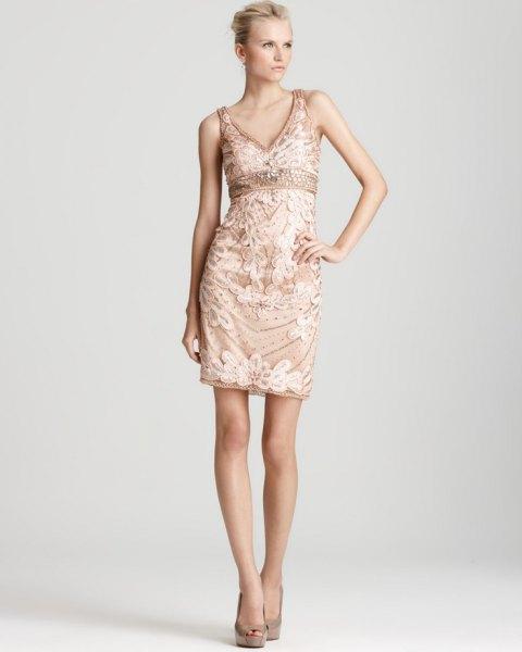 rose gold empire waist floral dress