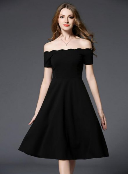 scallop hem off the shoulder black dress