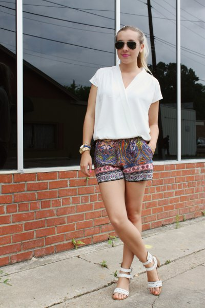 short sleeve white wrap top tribal printed shorts
