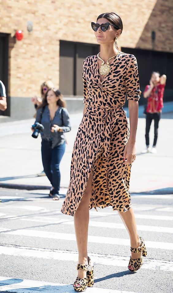 silk wrap dress animal print