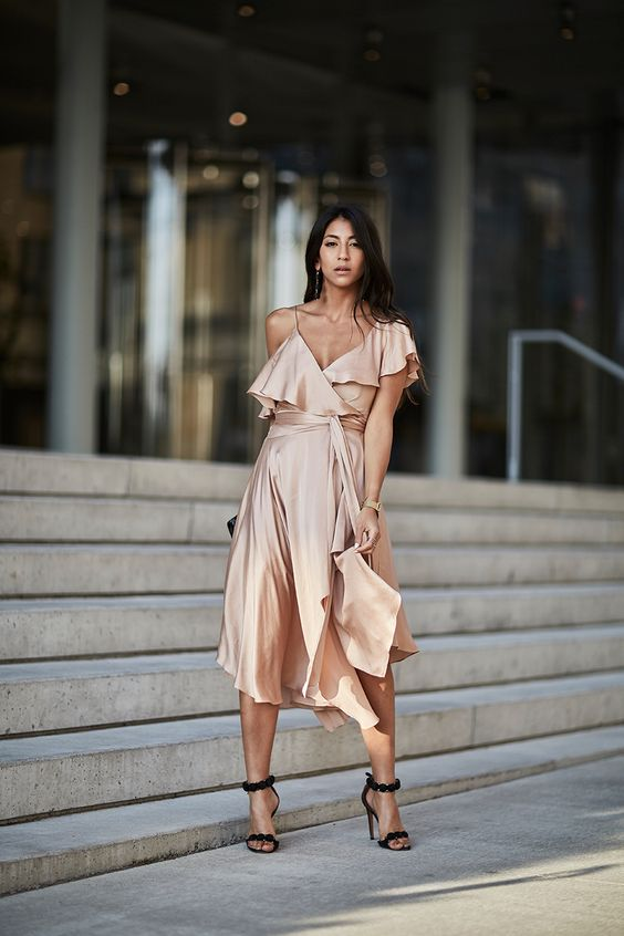 silk wrap dress peach colored