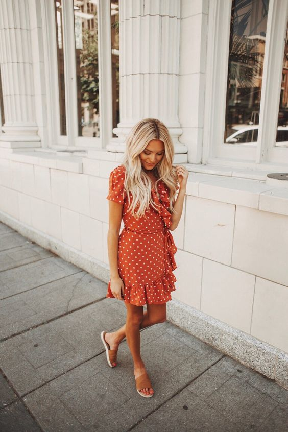 silk wrap dress polka dot