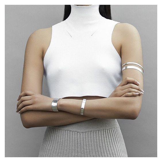 silver cuff bracelet upper arm
