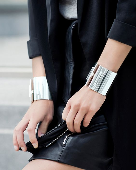 silver cuff bracelet leather