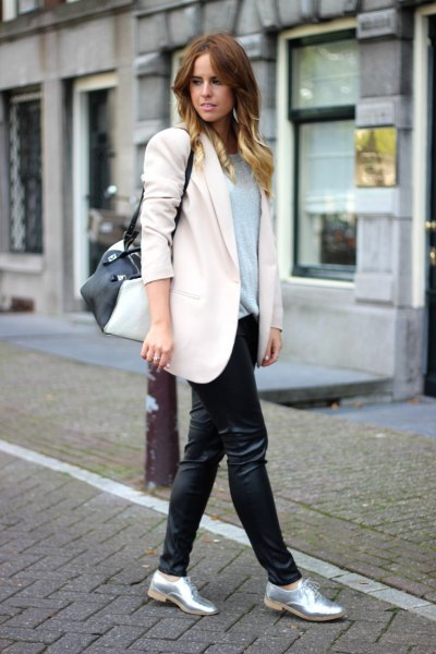 silver metallic shoes white wool coat black leather leggings