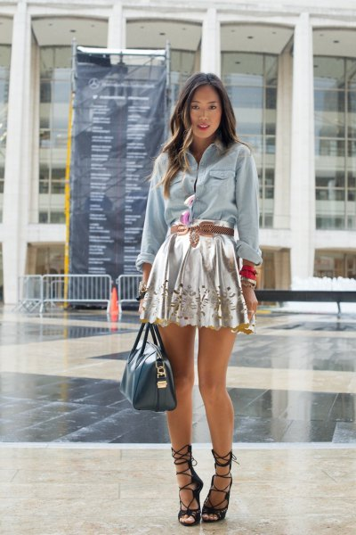 silver mini skirt denim shirt