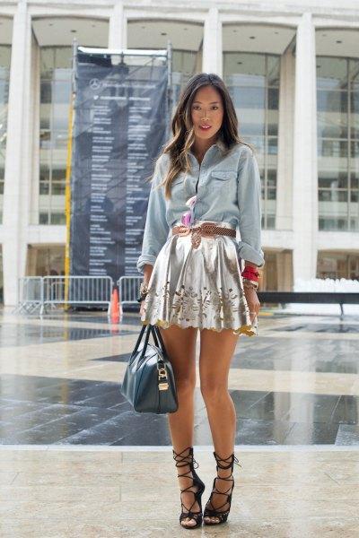 silver mini skirt denim shirt