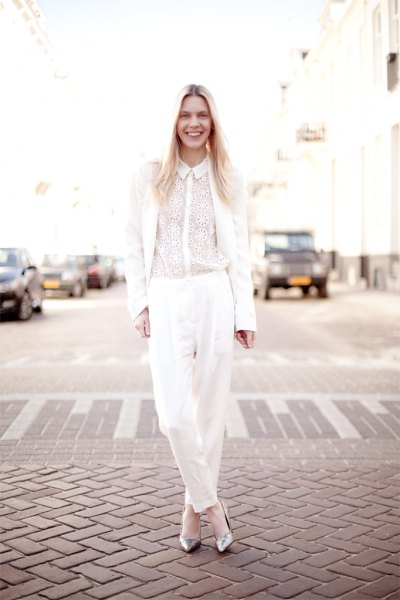 silver sparkly heels all white outfit