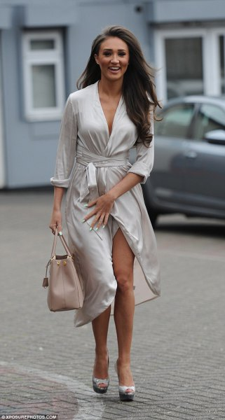 silver wrap midi dress loafers