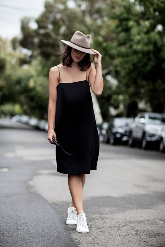spaghetti strap dress black minimal