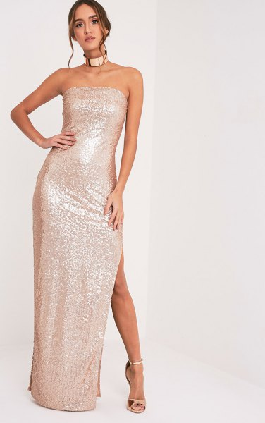 strapless rose gold maxi high split dress