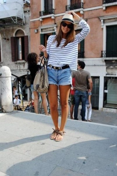 straw hat long sleeve tee denim shorts