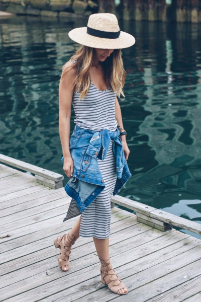 straw hat navy and white striped sheather midi dress