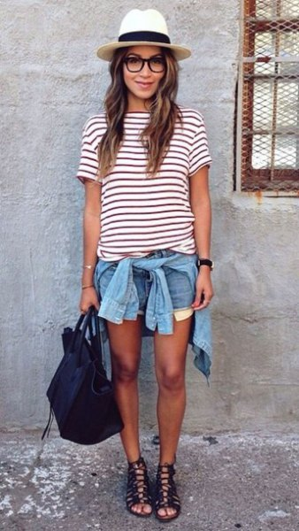 straw hat striped tee denim shorts