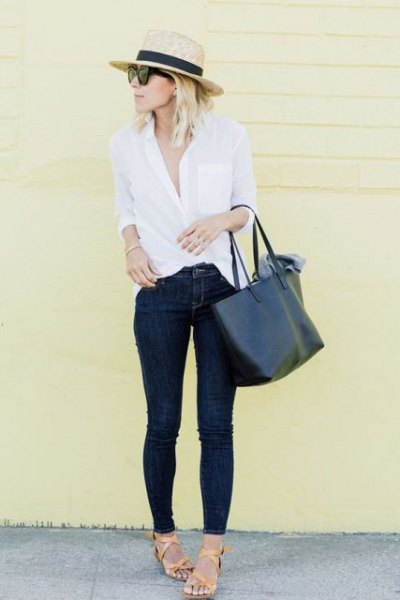 straw hat white button up shirt skinny jeans